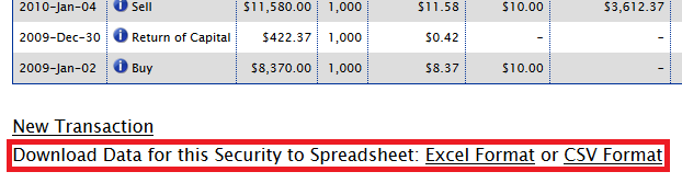 Download Security Data to Spreadsheet