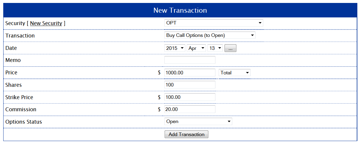 New Transaction to Buy Call Options for Example 1