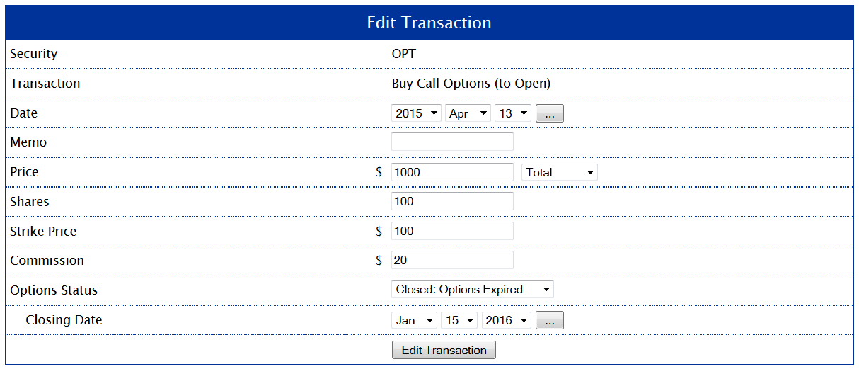 Example 1: Setting the Closing Transaction to Expired