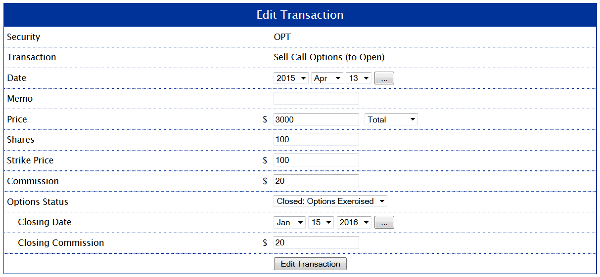 Example 7: Setting the Closing Transaction