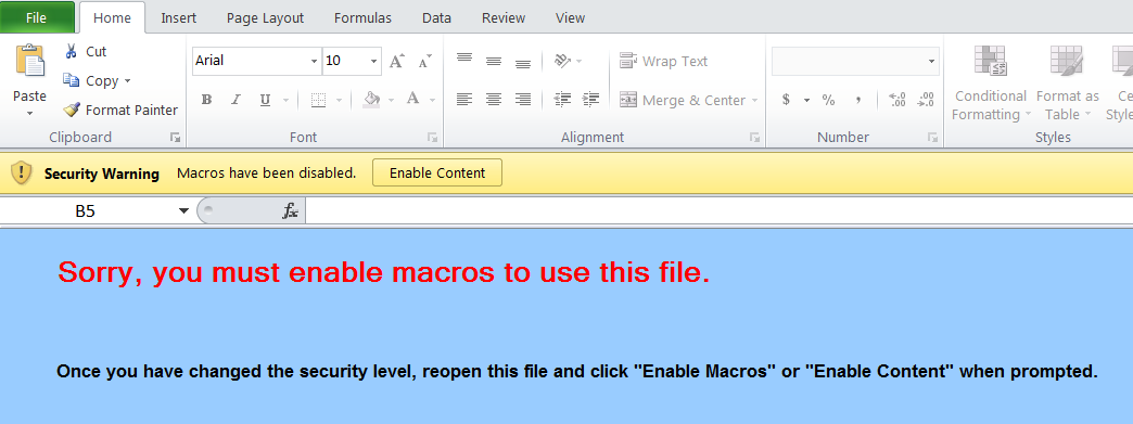 Microsoft Excel Enable Macros