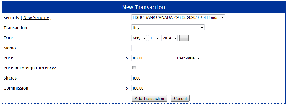 HSBC Bond Buy Transaction