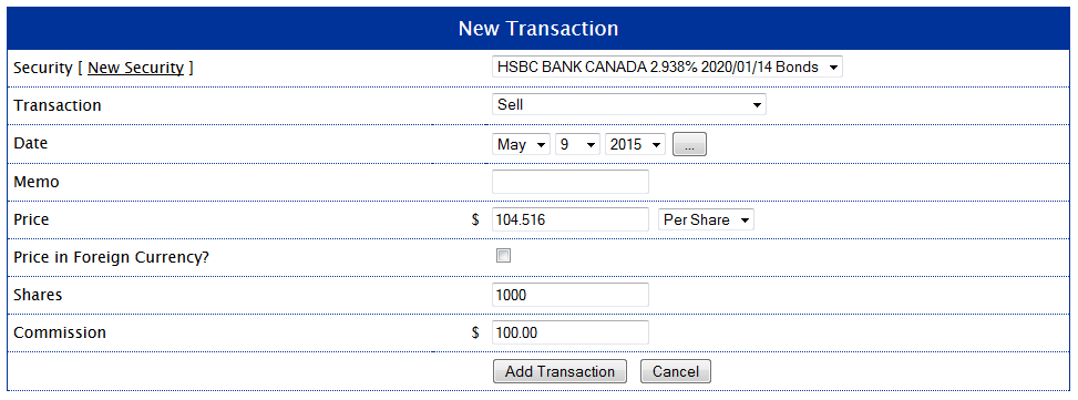 HSBC Bond Sell Transaction