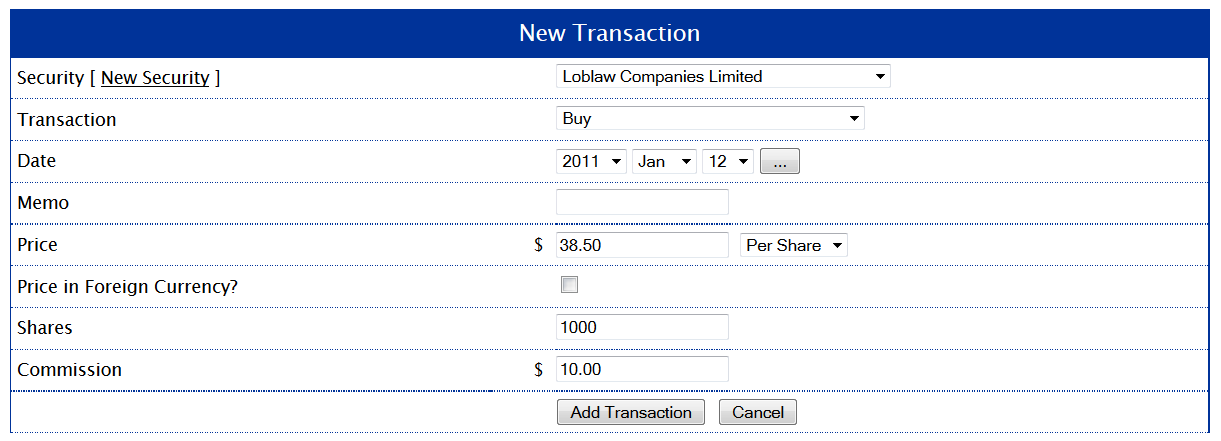 Initial Purchase on Loblaw Shares