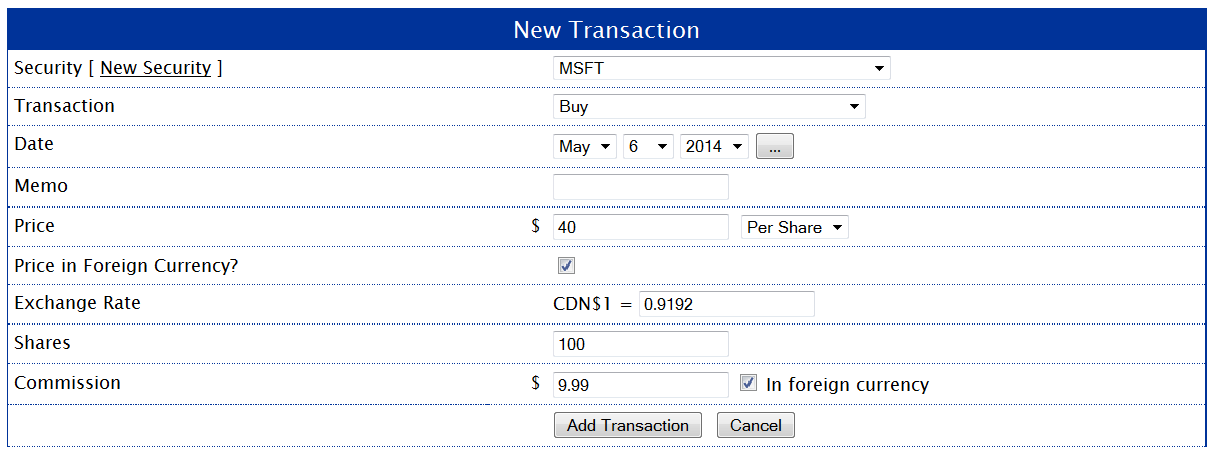 MSFT Buy Transaction
