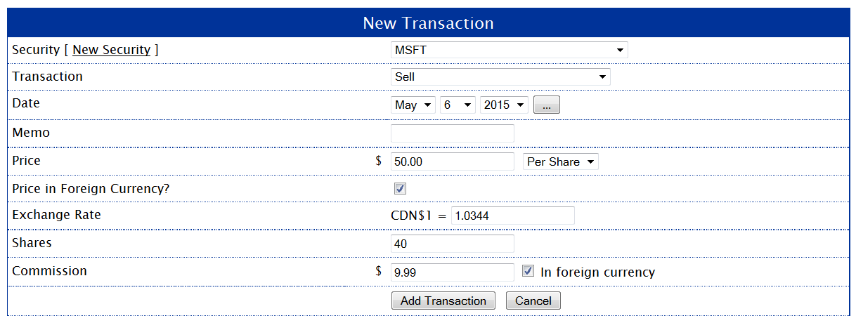 MSFT Sell Transaction