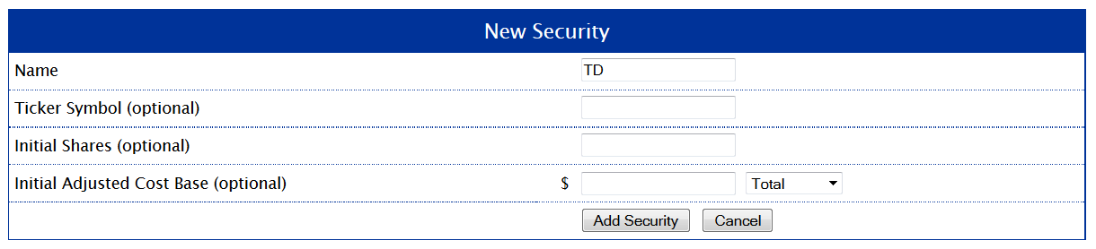 New Security Form