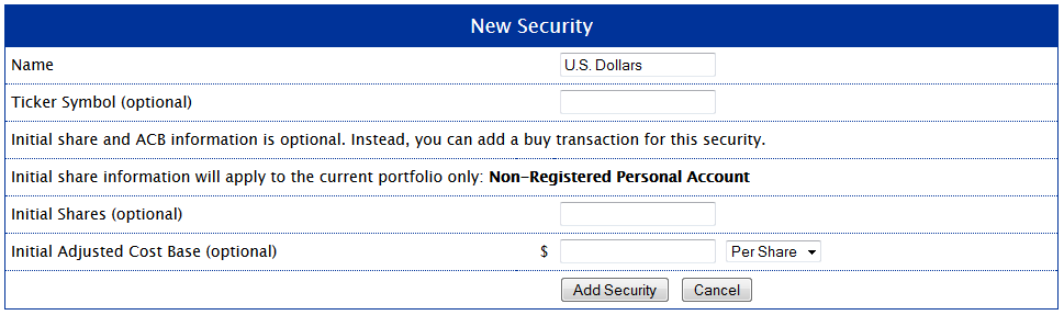 New Security - U.S. Dollars
