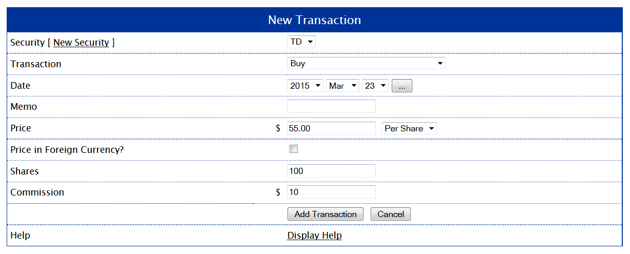 New Transaction Form