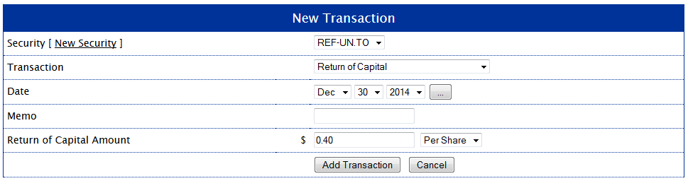 REF-UN.TO Return of Capital Transaction