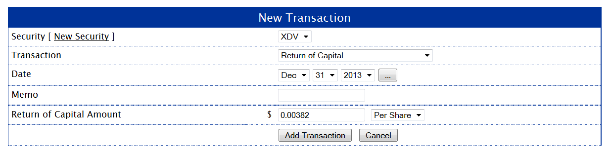 Return of Capital Transaction
