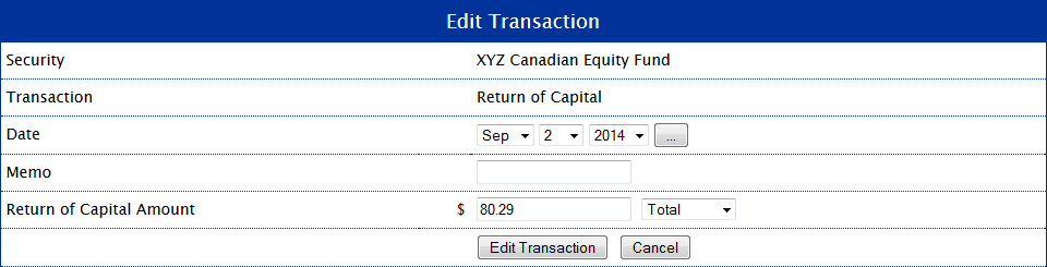 Return of Capital for Example 1