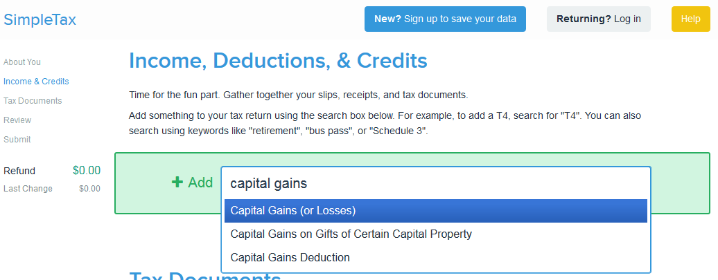 SimpleTax: Search for Capital Gains (and Losses) Form