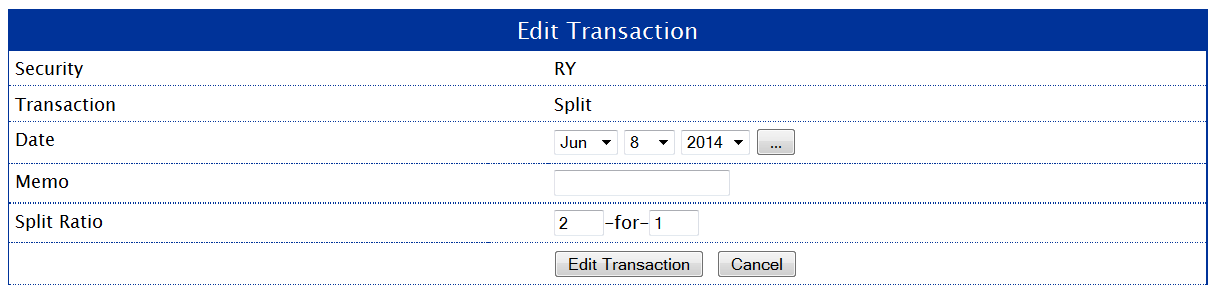 Split Transaction Entry