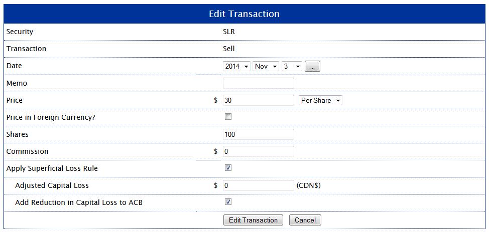 Edit Transaction