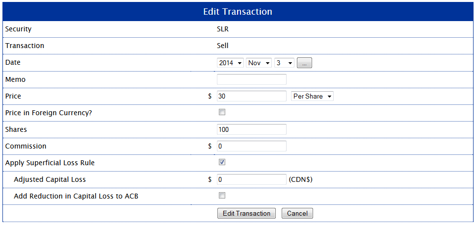 Edit Transaction