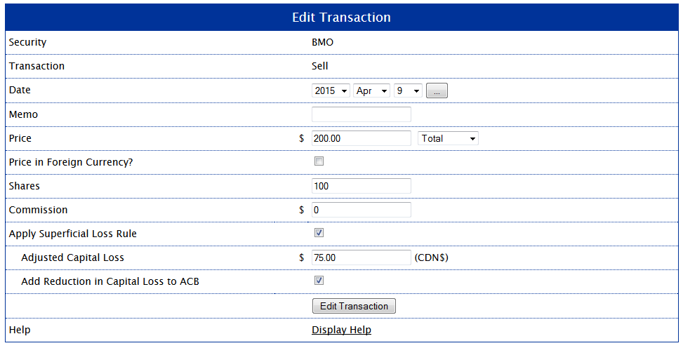 Editing the Sale Transaction to Partially Apply the Superficial Loss Rule for Example 1