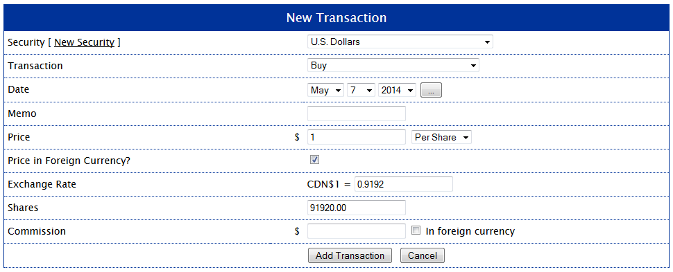 Transaction - Purchase of U.S. Dollars
