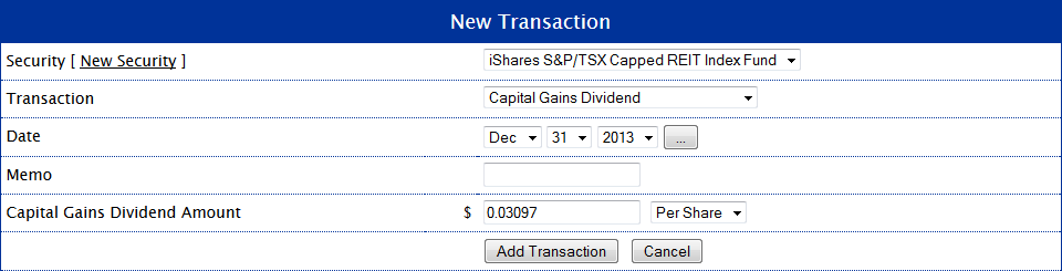 XRE Capital Gains Dividend Transaction