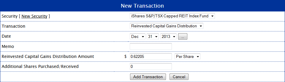XRE Reinvested Capital Gains Distribution